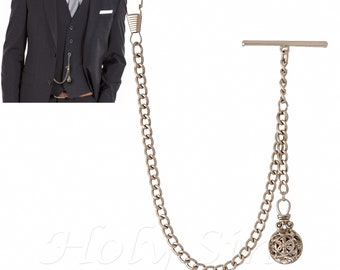 Silver Colour Single Albert Pocket Watch Chain With Pendant 001 ae04063cfb63