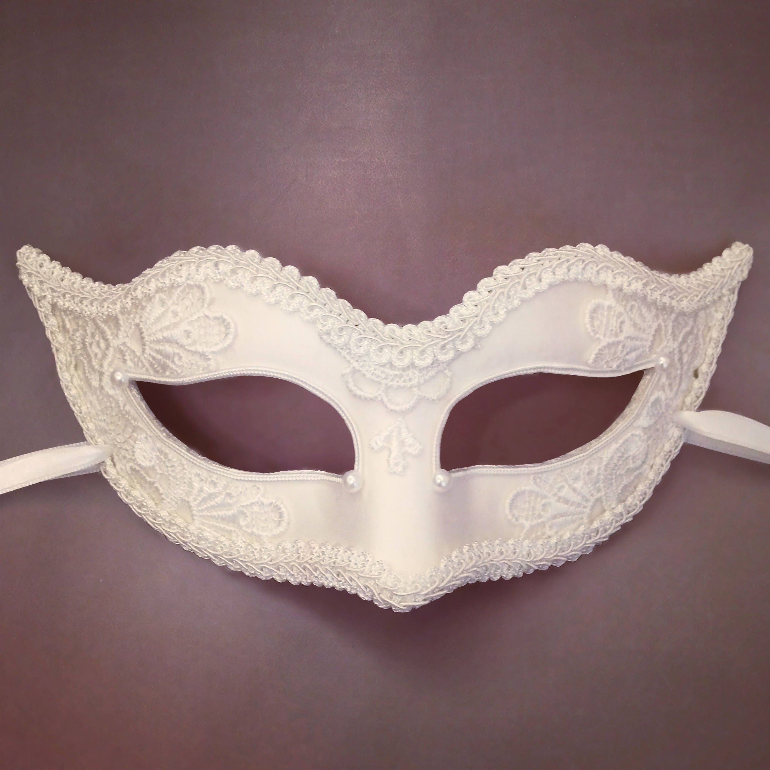 white masquerade mask with lace venetian style halloween | etsy