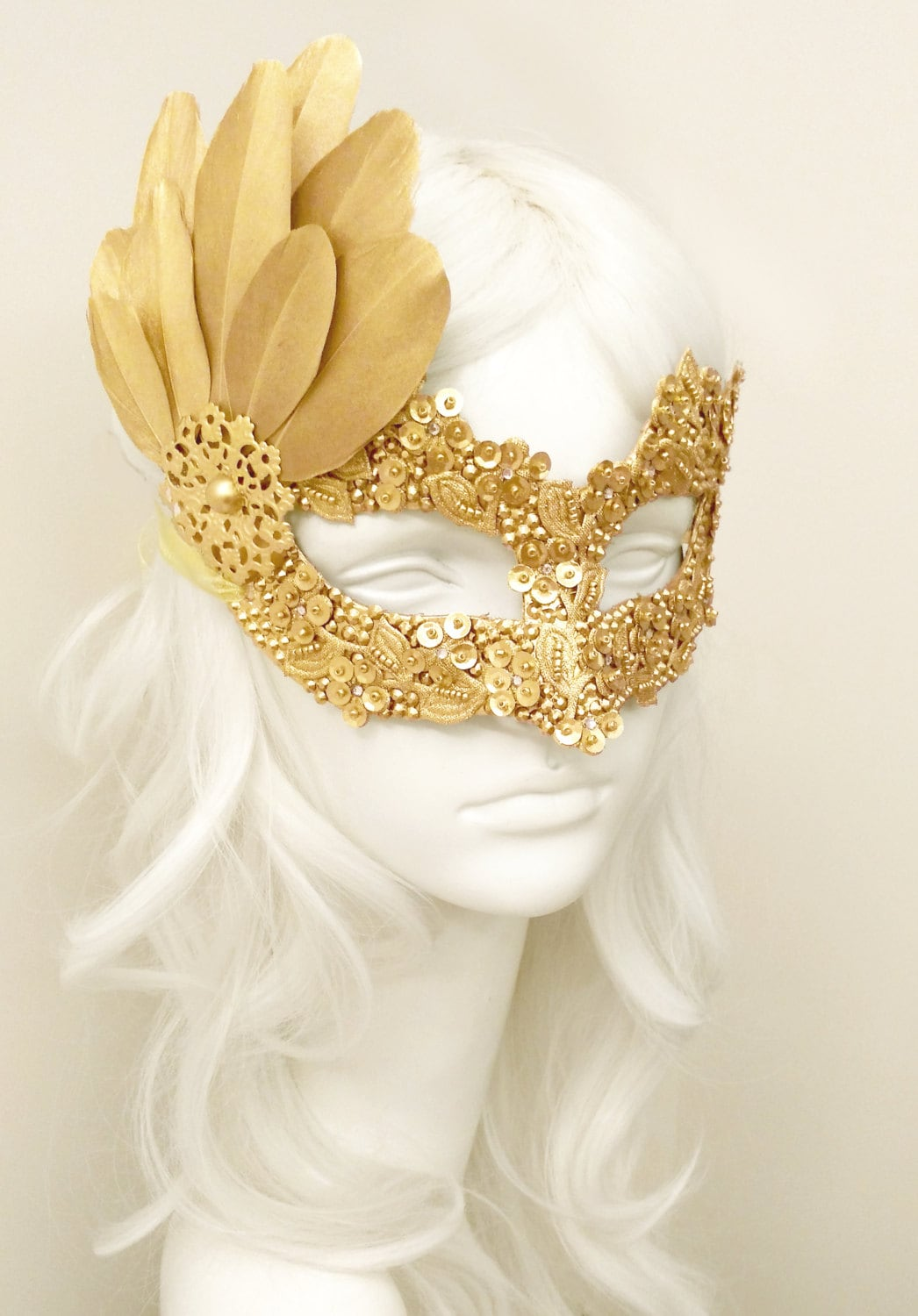 Sequined Gold Masquerade Mask With Rhinestones And Feathers | Etsy