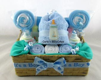 Baby Shower Basket, Baby Diaper Cake, Baby Washcloth Gift Set, Baby Shower  Gift, New Mom Gift, New Baby Gift, Washcloth Cupcakes
