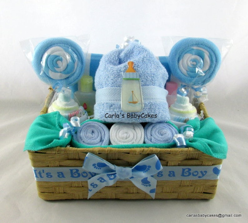 ca1254e6a00f Baby Shower Basket Baby diaper cake Baby Washcloth Gift Set