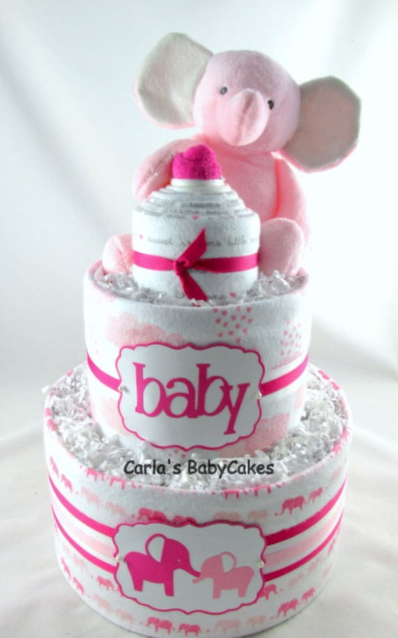 Elephant baby shower New mom gift Baby diaper cake Elephant diaper cake Baby shower decoration Unique Baby gift Baby shower gift