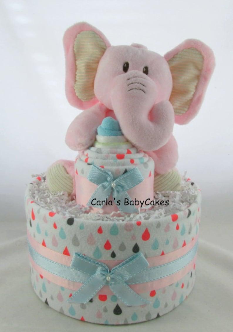 Girl Diaper Cake Elephant Diaper Cake Pink Diaper Cake Baby Etsy