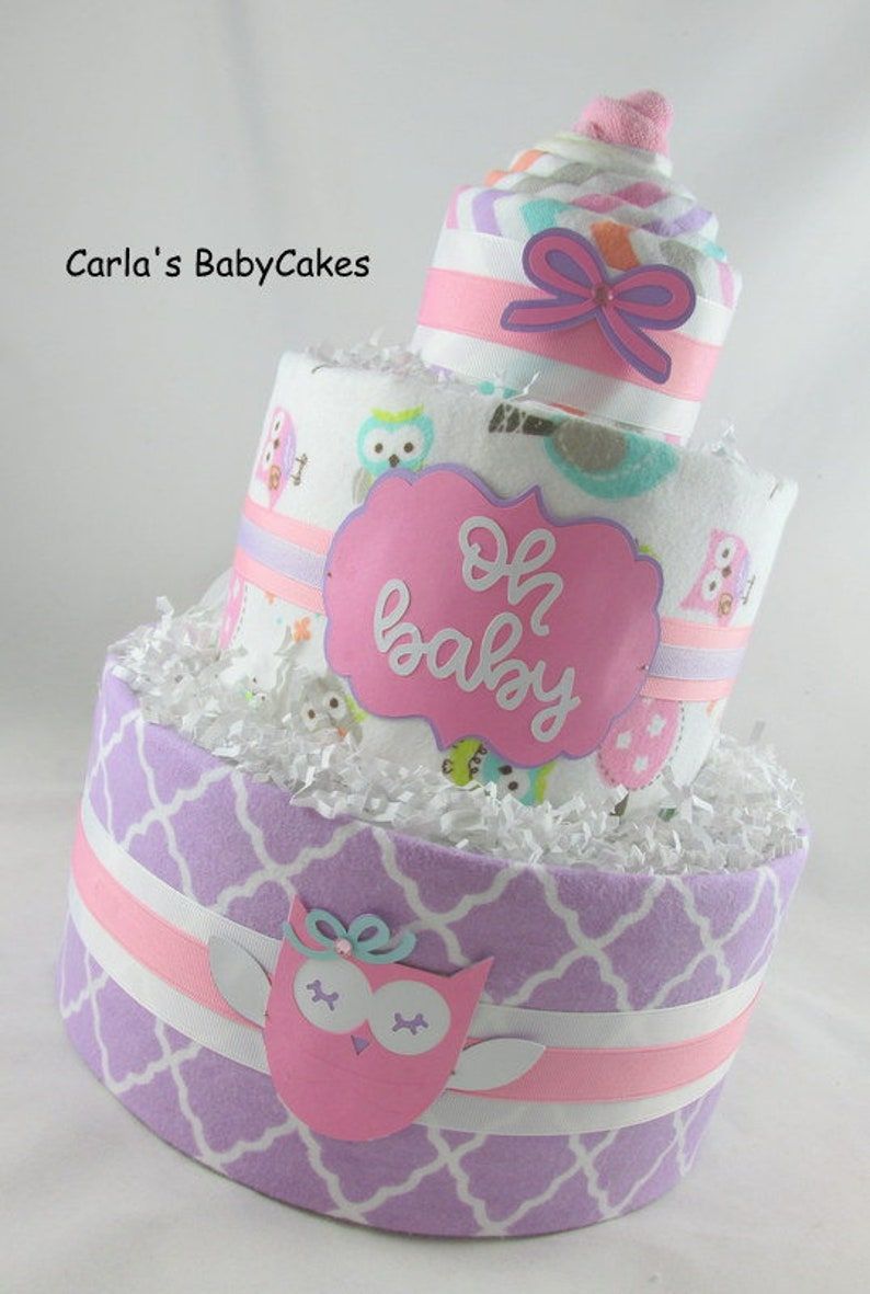 Baby shower decoration Baby shower gift Owl diaper cake Baby diaper cake Girl diaper cake Unique baby gift Diaper cupcake gift