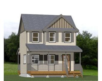 20x16 House -- 2-Bedroom 1-Bath -- 630 sq ft -- PDF Floor Plan -- Instant Download -- Model 6A