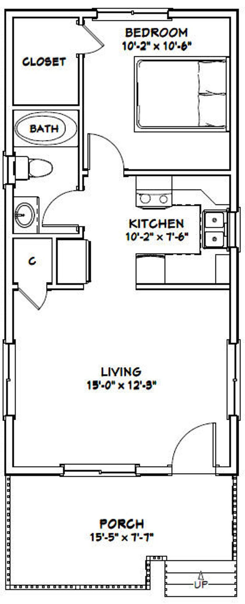 16x32 House 1-Bedroom 1-Bath 511 sq ft PDF Floor Plan   Etsy