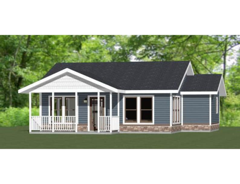 32x28 House -- 1-Bedroom 1-Bath -- 824 sq ft -- PDF Floor Plan -- Instant  Download -- Model 1B