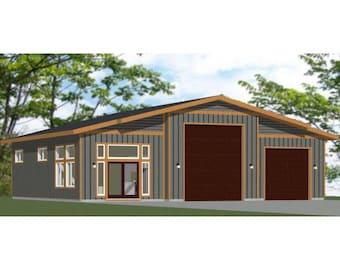 50x48 1 RV 1 Car Garage -- 2 Br 1.5 Ba -- PDF Floor Plan -- 2,274 sq ft -- Instant Download -- Model 5E