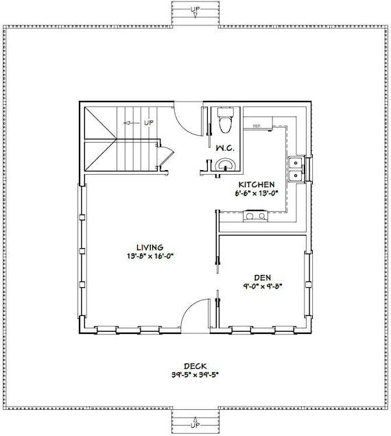 24x24 House 2 Bedroom 1 5 Bath 1059 Sq Ft Pdf Floor Etsy