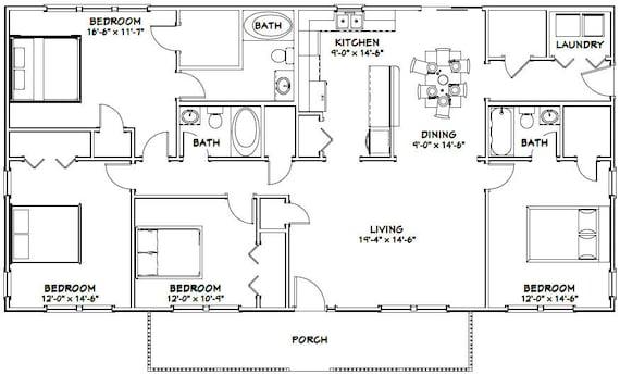 60x30 House 4 Bedroom 3 Bath 1800 Sq Ft Pdf Floor Etsy