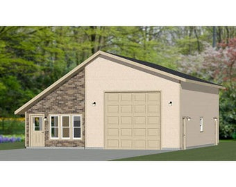 34x42 1-RV Garage -- 1 Bedroom, 1 Bath -- 1,400 sq ft -- PDF Floor Plan -- Instant Download -- Model 2B