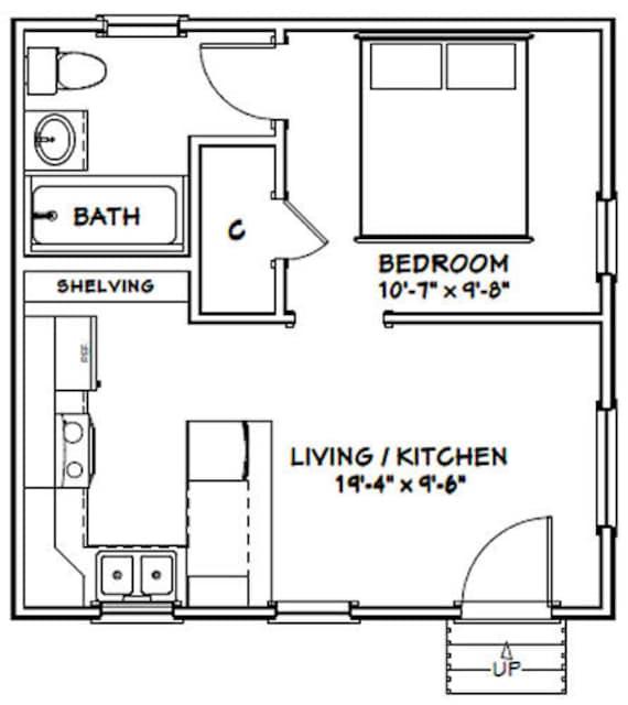 281 sq ft Instant Download 1-Bedroom 1-Bath Model 2A 20x10 Tiny House PDF Floor Plan