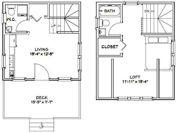PDF Floor Plan Model 4C 16x20 Tiny House 574 sq ft
