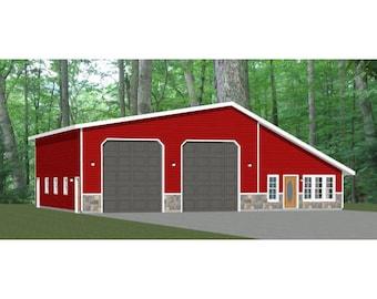 56x48 2-RV Garage -- 2 Bedroom, 1 Bath -- 2,649 sq ft -- PDF Floor Plan -- Instant Download -- Model 1E