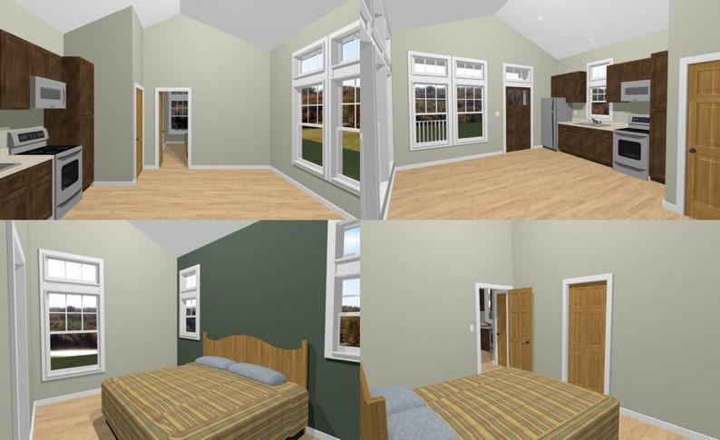 16x32 House -- 1-Bedroom 1-Bath -- 511 sq ft -- PDF Floor Plan -- Instant  Download -- Model 3D