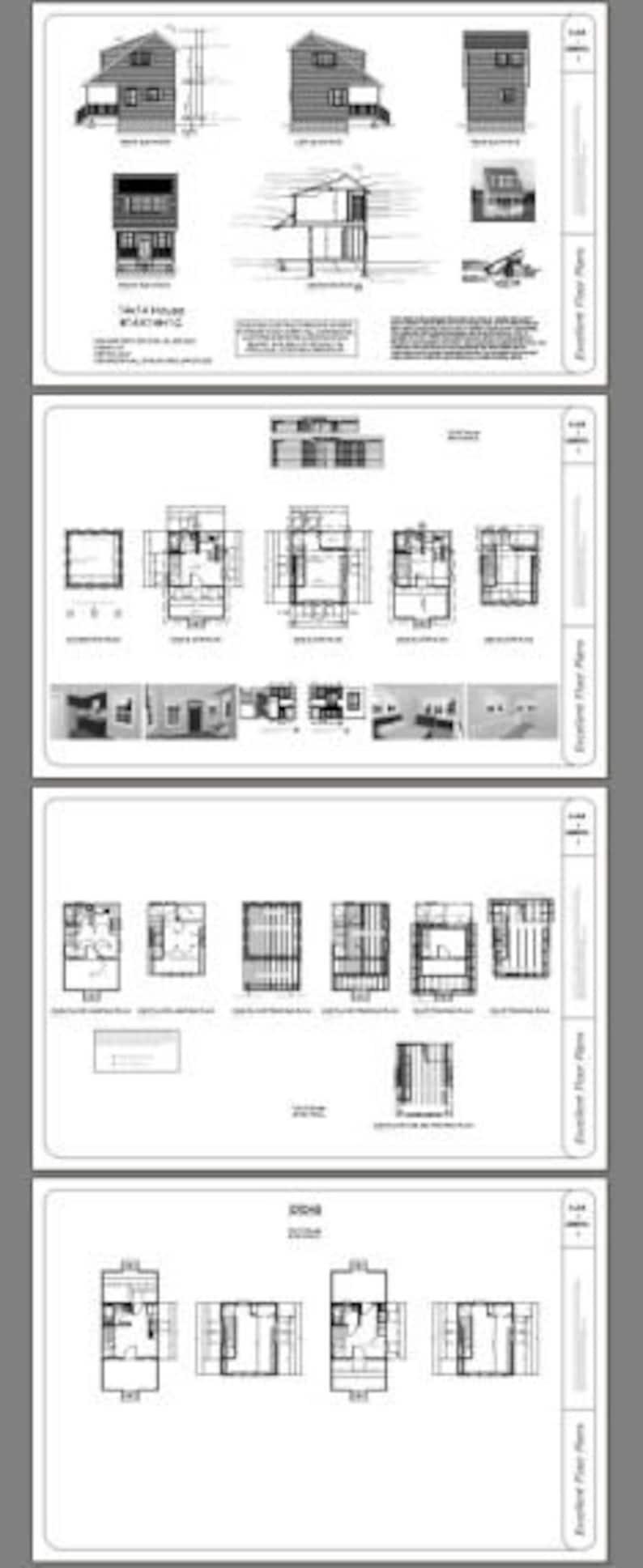 14x14 House 1-Bedroom 1-Bath PDF Floor Plan 399 sq ft Instant Download Model 1C