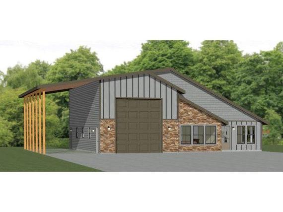 46x48 House PDF Floor Plan 1,157 sqft Model 3C 1 Bedroom 1.5 Bath 1 RV
