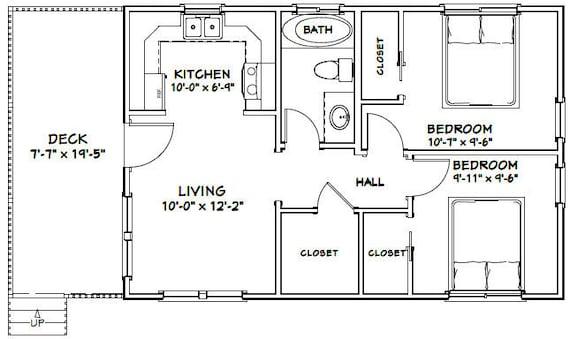 30x20 House 2 Bedroom 1 Bath 600 Sq Ft Pdf Floor Plan Etsy