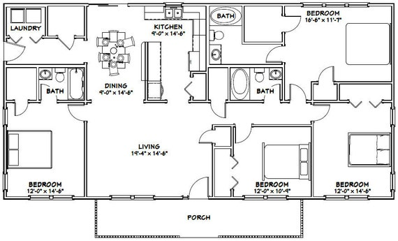 60x30 House -- 4-Bedroom 3-Bath -- 1,800 sq ft -- PDF Floor Plan -- on simple 3 bedroom house plans, 8 bedroom ranch house plans, luxury house plans, simple 4 bedroom house plans, habitat homes floor plans, affordable 4 bedroom house plans, 3 bedroom floor plans, cheap 4-bedroom floor plans, 5 bedroom floor plans, simple 5 bedroom house plans, 4 bedroom 2 story house plans, country house plans, 12 bedroom house floor plans, new 4 bedroom home plans, 4-bedroom country floor plans, 6 bedroom house floor plans, unique house plans, 2 bedroom floor plans, unique open floor plans, 9 bedroom house floor plans,