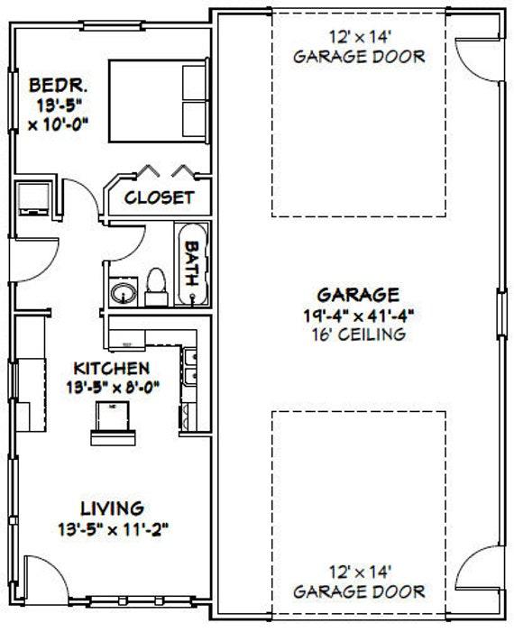 1,400 sq ft PDF Floor Plan 34x42 1 RV Garage 1 Bedr 1 Bath Model 2D