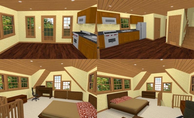 16x20 House -- 1-Bedroom 1-Bath -- 574 sq ft -- PDF Floor Plan -- Instant  Download -- Model 4B