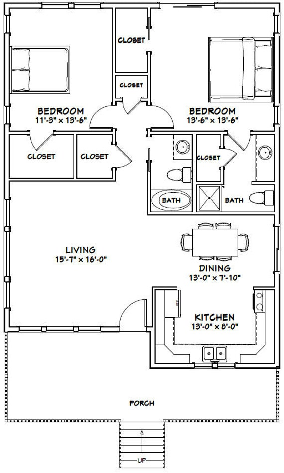 30x40 House -- 2-Bedroom 2-Bath -- 1,136 sq ft -- PDF Floor Plan -- on korea house plans, south african house plans, country house plans, modern african house plans, nigeria house plans, liberia house plans, dominican republic house plans, architectural designs house plans, guinea house plans, simple 3 bedroom house plans, caribbean house plans, nigerian house plans, traditional house plans, mediterranean house plans, jamaica house plans, mexico house plans, thailand house plans, uganda house plans, sri lanka house plans, contemporary house plans,