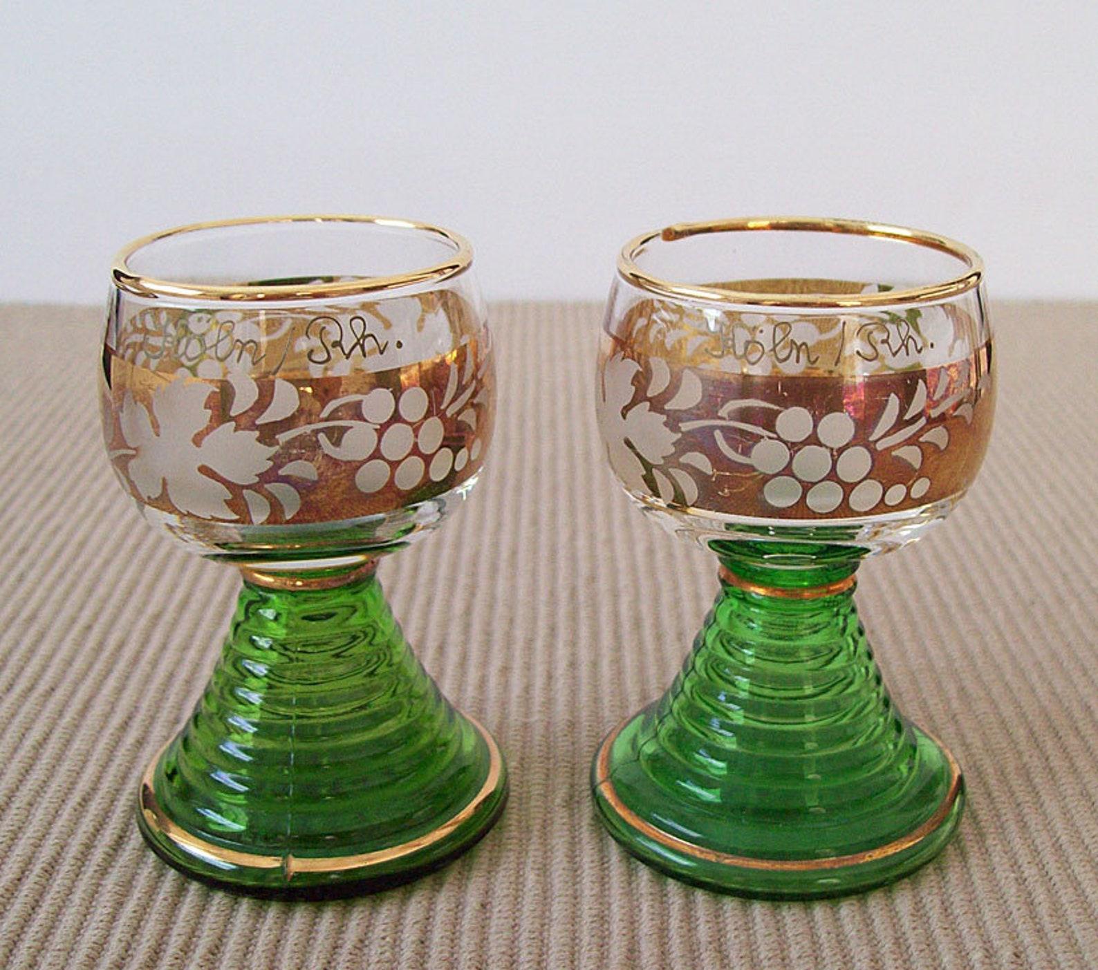 ROEMER (Roman) GERMAN Schnapps Glasses – Pair – Koln/Rh – Cologne – Gold Trim – Beehive Stem – Romer - Shot Glasses -Vintage -