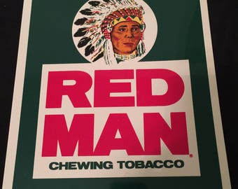 6e56e44c8f7 Vintage 90s Redman Americas Best Chewing Tobacco Advertising Plastic Sign Snapback  Red Man Nos New