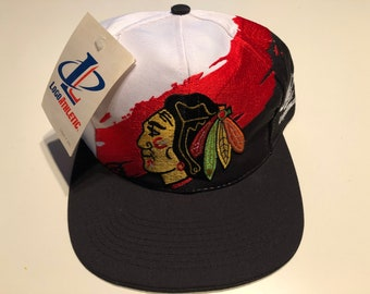 13afe383 Deadstock New Nwt Vintage NHL Hockey Chicago Blackhawks Logo Athletic Shark  Tooth Splash Snapback Hat Cap Deadstock