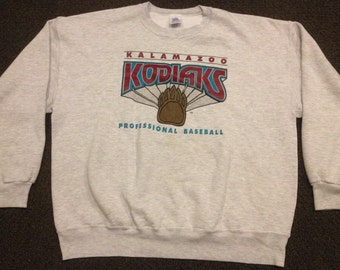 Vintage Kalamazoo Kodiaks Pro Baseball Print Crewneck Sweatshirt Size 2XL