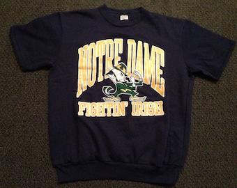 NWOT Rare Vintage NAvy Notre Dame Fighting Irish Short Sleeve Crewneck Sweatshirt Size XL