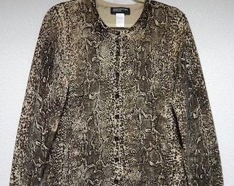 "Jones New York 40"" Bust Womens XL Brown Beige Soft Silk Cardigan Sweater"