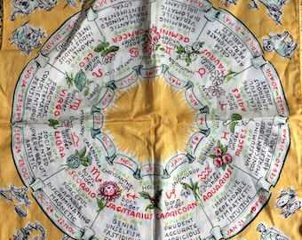 "11 1/2"" x 11 1/2"" Burmel Original Zodiac Horoscope Wheel Astrology Handkerchief"