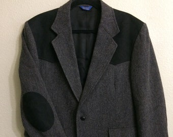 Pendleton Mens 42 Black Suede Wool Herringbone Blazer Jacket Coat Elbow Patches 4 Pockets
