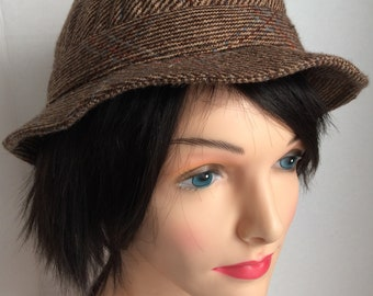 474dcca9652 Totes Brown Tweed Wool Adult L Fedora Rain Hat Vintage USA