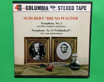 Schubert Bruno Walter Reel to Reel 4 Track 7 1/2 IPS Vintage Tape Symphony 5 + 8 Orchestra Music