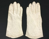 Vintage Style Gloves- Long, Wrist, Evening, Day, Leather, Lace Crescendoe White Beaded Womens 6 12 Small Vintage Cotton Gloves Stain on Cuff $12.94 AT vintagedancer.com