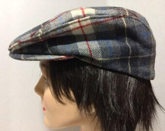 3218825f120 Pendleton Vintage Large Virgin Wool USA Unisex Gray Blue Red White Cabbie  Golf Cap Hat