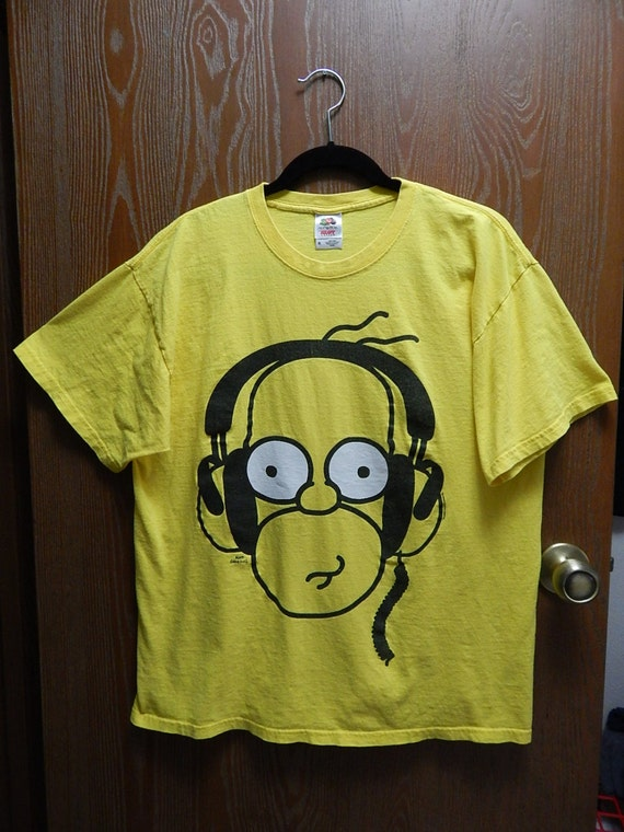Awesome Homer Simpson Adult Xl Yellow T Shirt With Headphones Matt Groening Beutiful Home Inspiration Ommitmahrainfo