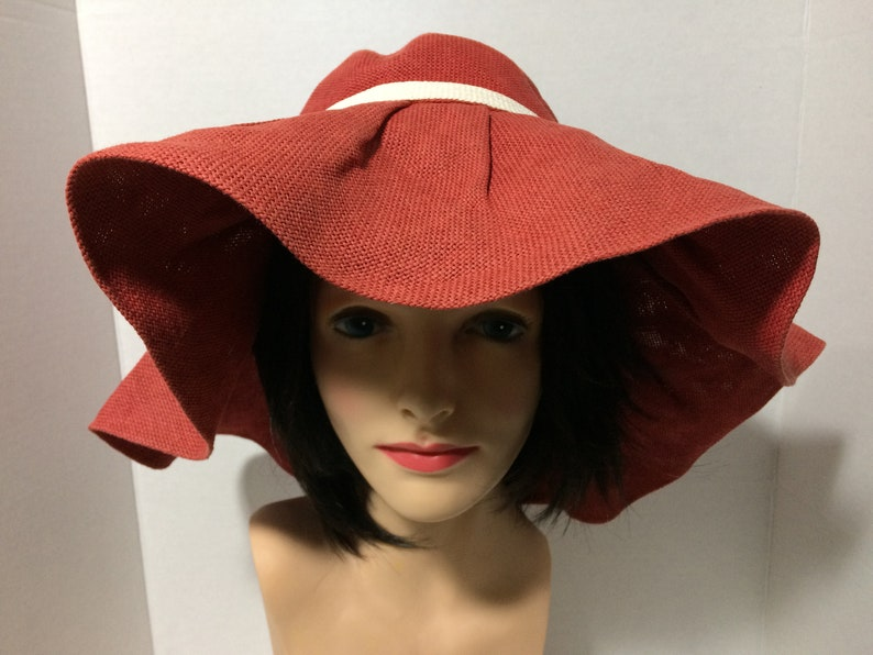 7e202cc8e Mandarin Red Womens M Woven Canvas Big Floppy Hat Wide White Bow  Double-Layered