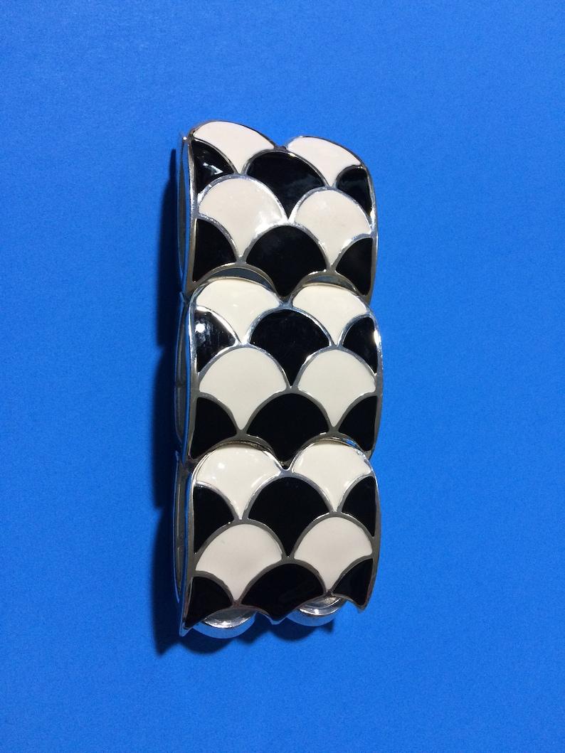 White Enamel Art Deco Style Wide Stretchy Bangle Bracelet Black