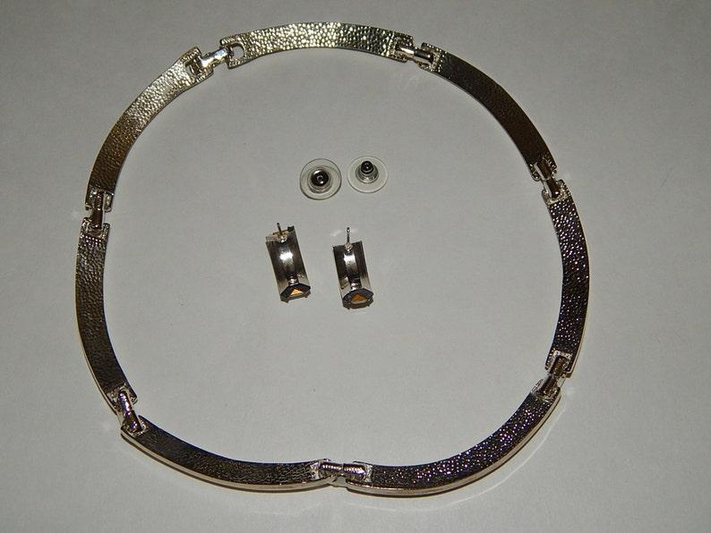 Pierced 34 Earrings Faux Diamonds 16 Silvertone Metal Choker Necklace