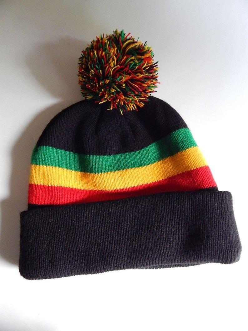 3cdb532b9 Reggae Rasta Knit Beanie Wide Cuff Cap Hat Pom Pom Black Red Yellow Green  Acrylic