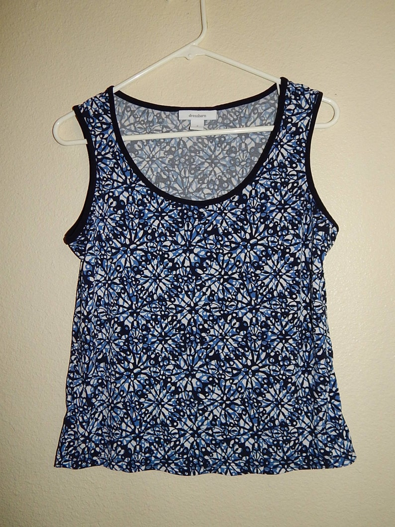 ec06a8512d79 Dress Barn Womens 8 Navy Blue White Stretch Tanktop | Etsy