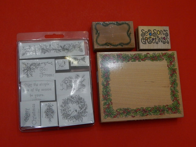 Lot of 12 Christmas/Holiday Bird Holly Wreath Rubber Stamps