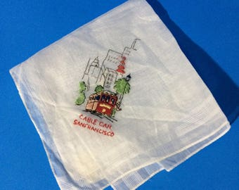 "11"" x 11"" Cable Car San Francisco Calif Sheer White Cotton Handkerchief Hankie Switzerland"