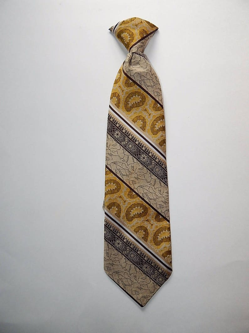 17 Custom Cravatieur Vintage Clip On Yellow Beige Brown Wide Tapestry Stripe Necktie