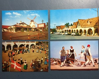 4 Solvang Calif Vintage Postcards Danish Folk Dancers Santa Ynez Valley Copenhagen Drive Old Cars