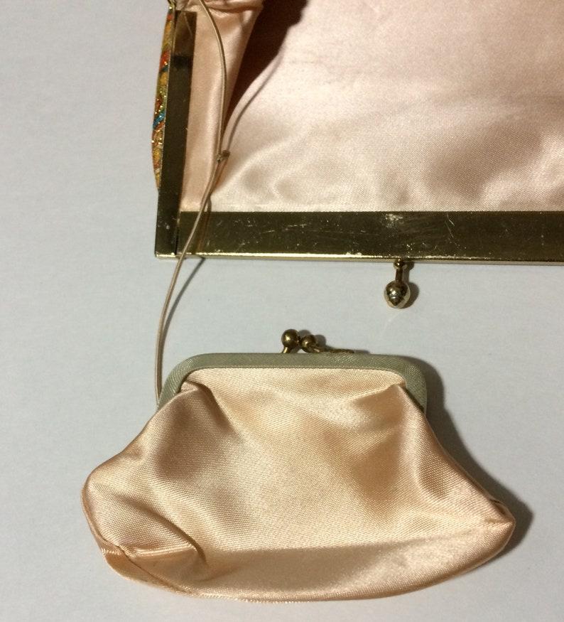 Chain Handbag Harry Levine H L USA Vintage Orange Blue Green Paisley Metal Frame Silk Coin Purse