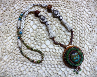 Handmade, Original Design, Bohemian Style Necklace with Free Matching Earrings and Free Shipping